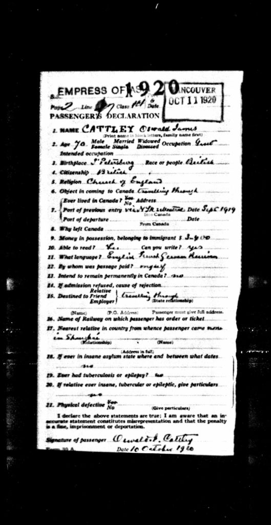 Oswald Cattley passenger information 1920