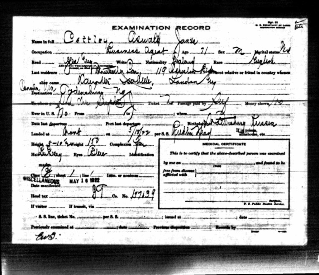 Oswald Cattley medical examination record 1922