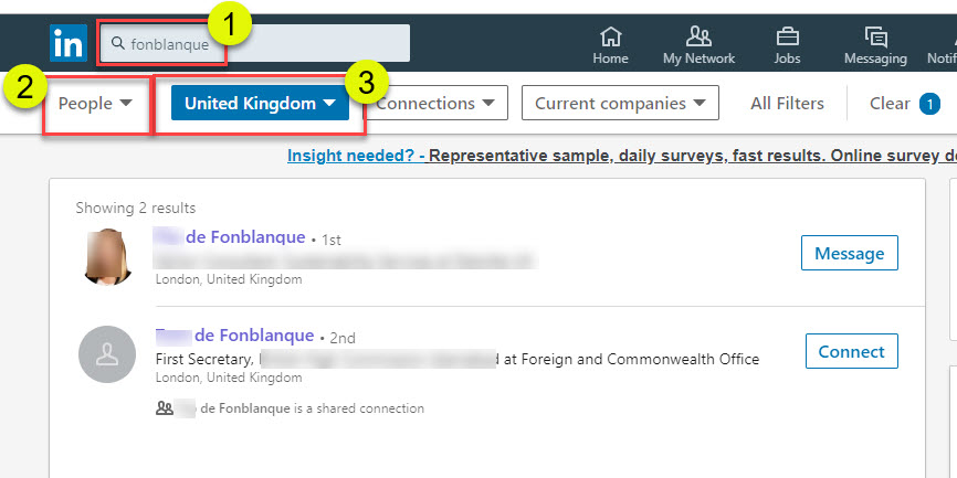 Example LinkedIn search for family history