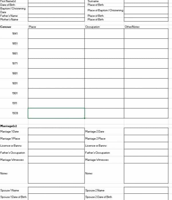 ancestor research template